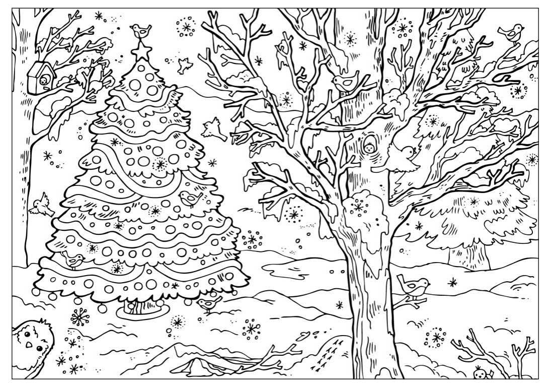 Раскраски новогодние сани деда мороза