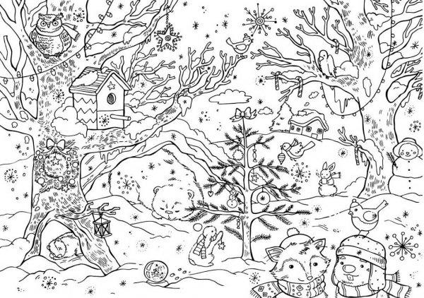 Картинки раскраски зима в лесу