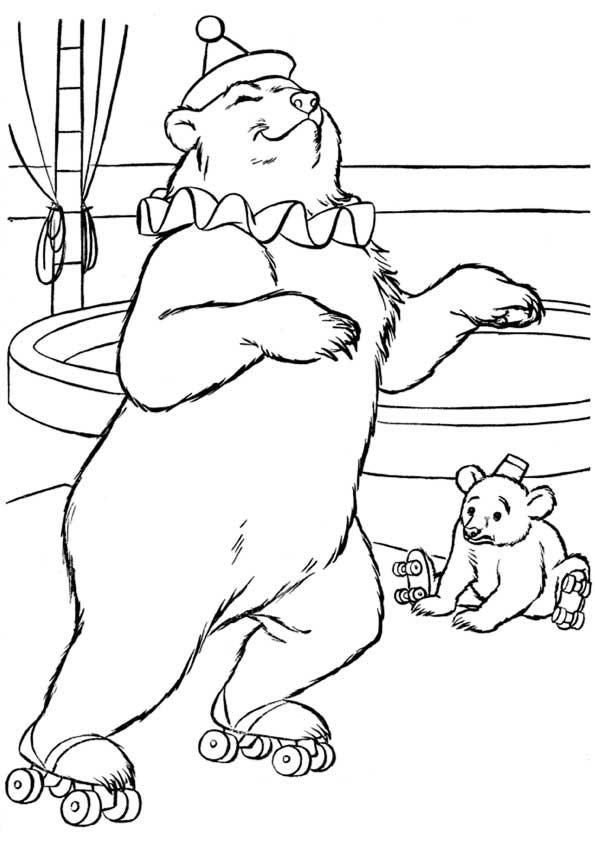 Детская картинка из цирка для раскраски медведей на роликах, которые вышли на арену, чтобы рассмешить мальчиков и...