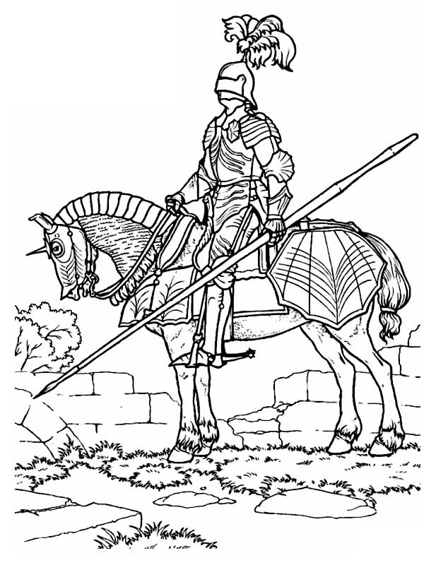 Раскраска рыцарь с драконом