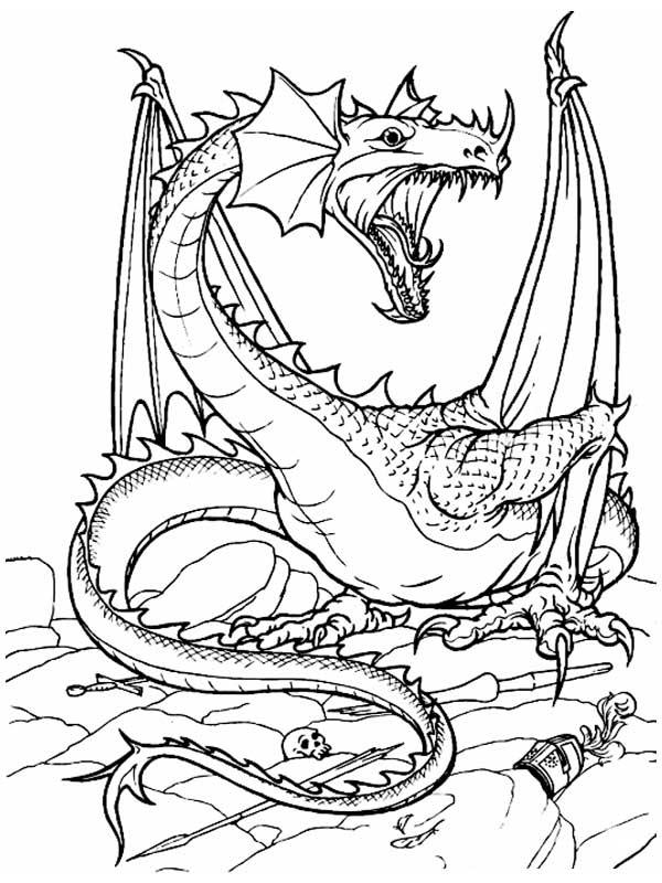 Раскраски бесплатные с драконами