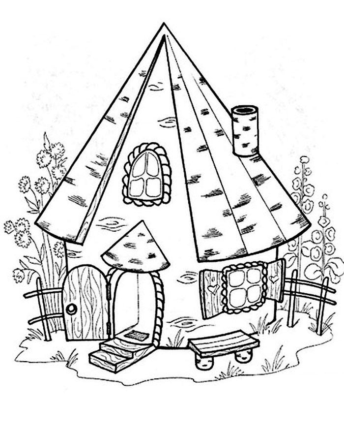 Картинки раскраски домик сказочный
