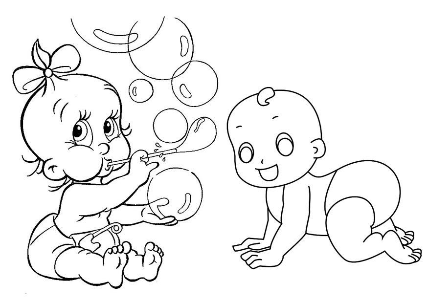 Раскраска малыш в подгузнике