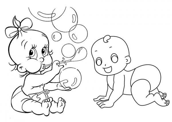 Ребёнок в пелёнке раскраска