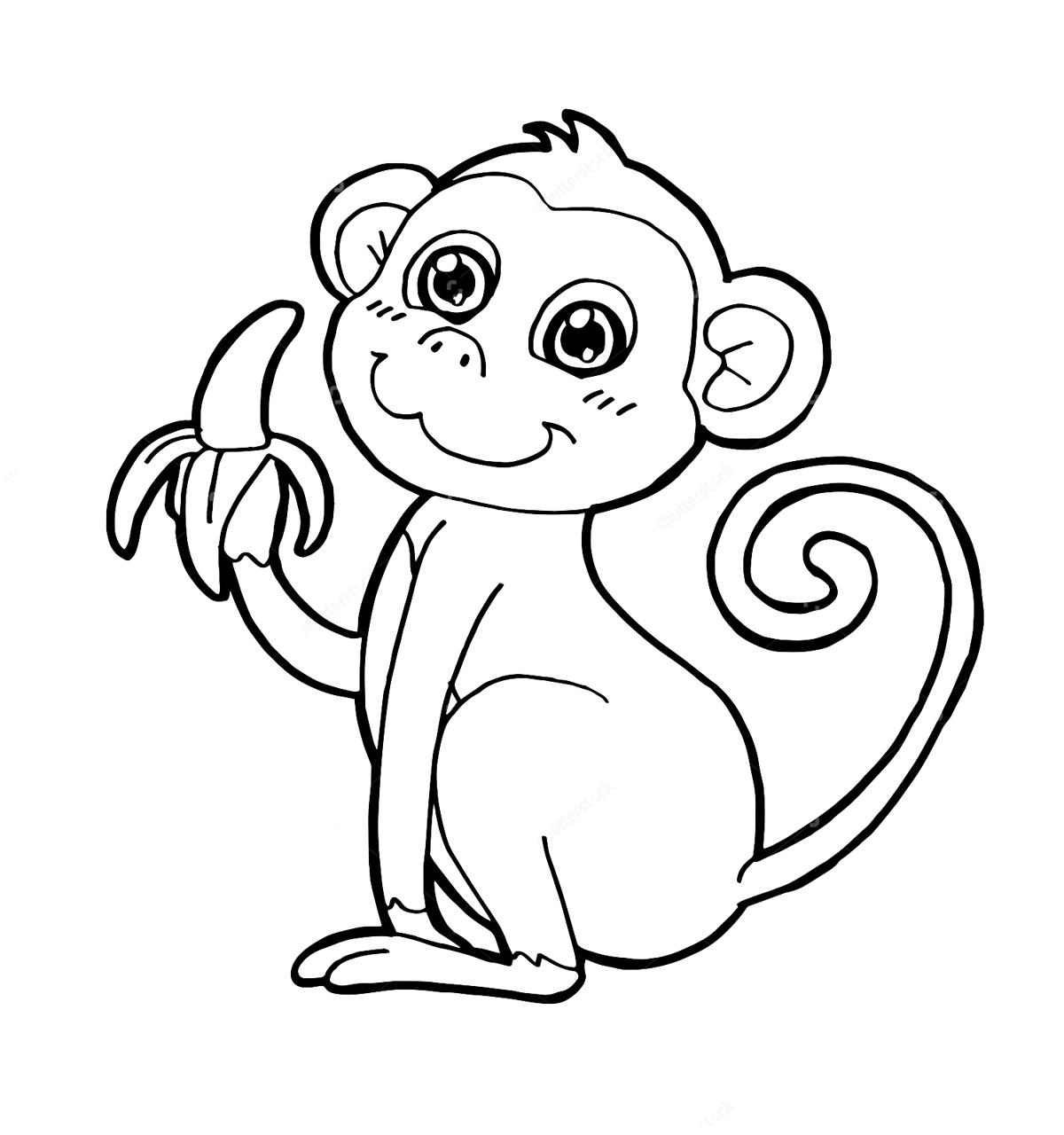 Раскраски обезьяна печатать
