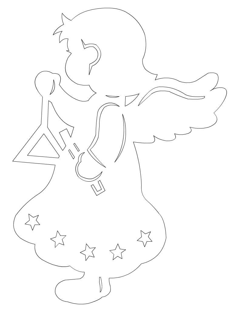 Ангелочки шаблоны на новый год из бумаги