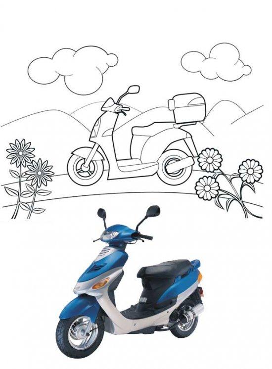 Раскраски скутеры