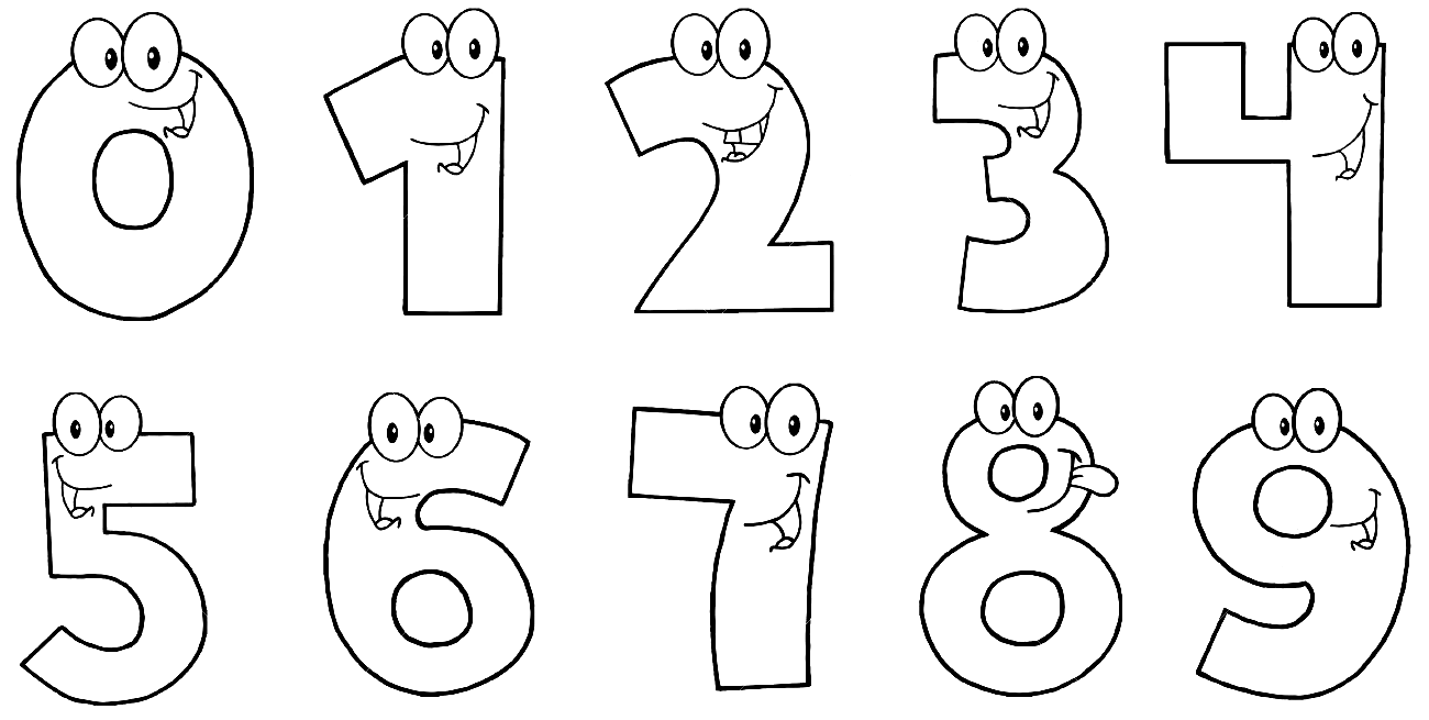 Цифры от 1-10 с раскрасками