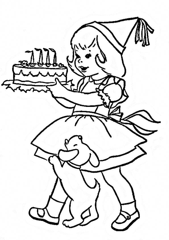 Картинки раскраски с днем рождения для детей в детском саду