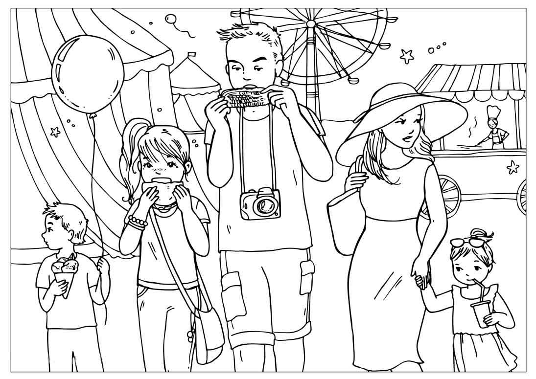 раскраски картинки семья
