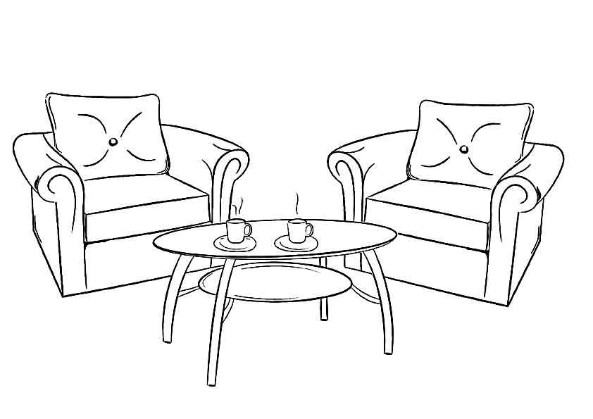 Мебель раскраска картинка для детей