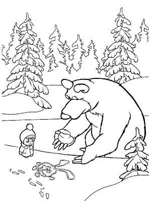 Маша и Медведь. Зимние раскраски