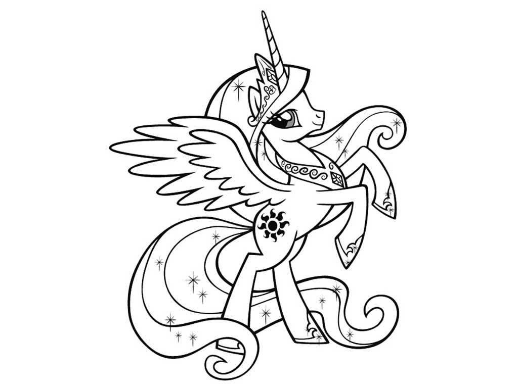 Раскраски про лошадей рогом и крыльями