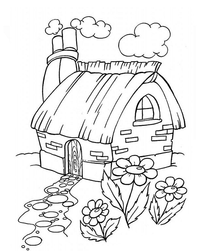 Дом в деревне картинки для детей раскраска