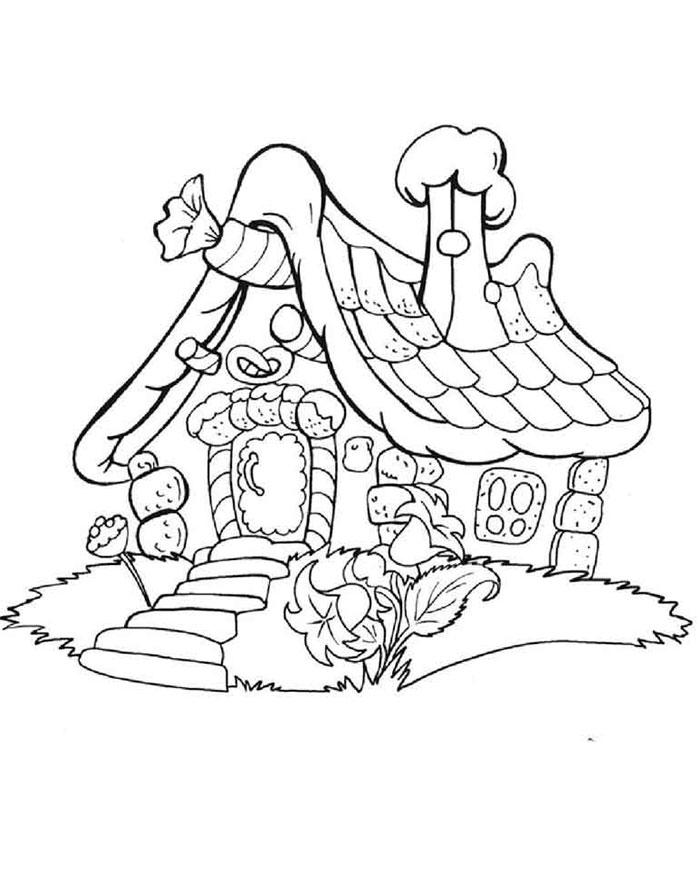 Картинка изба раскраска для детей