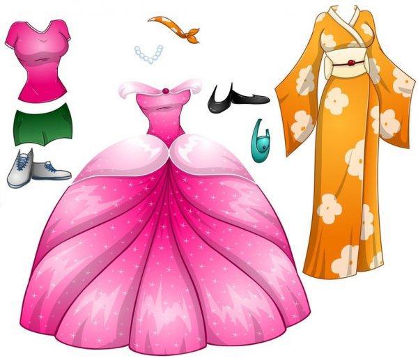 Три бумажные куколки с нарядами