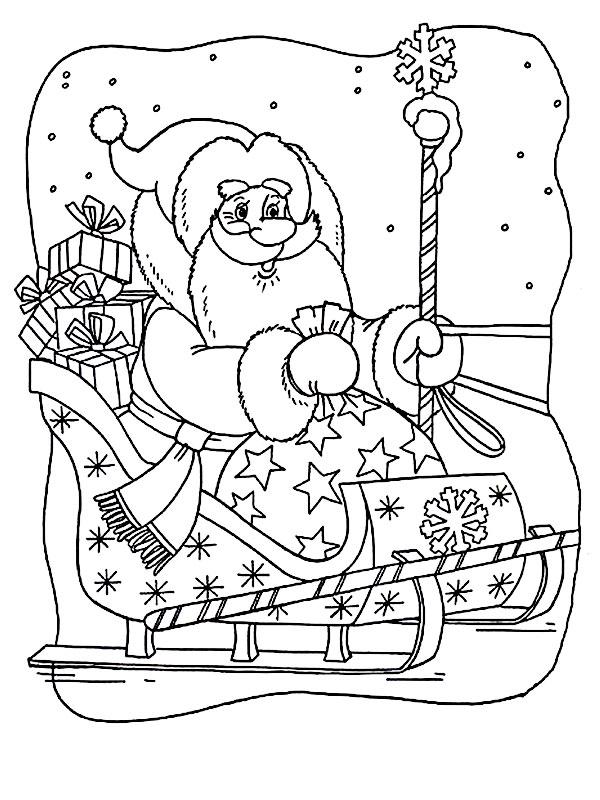 Дед мороз с санями картинки на окно