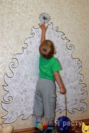 Елка-раскраска на стену