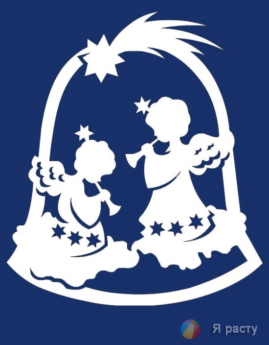 Рождественские ангелочки. Вытинанка