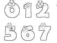 Веселые цифры. Шаблоны цифр с глазками. Эмоции