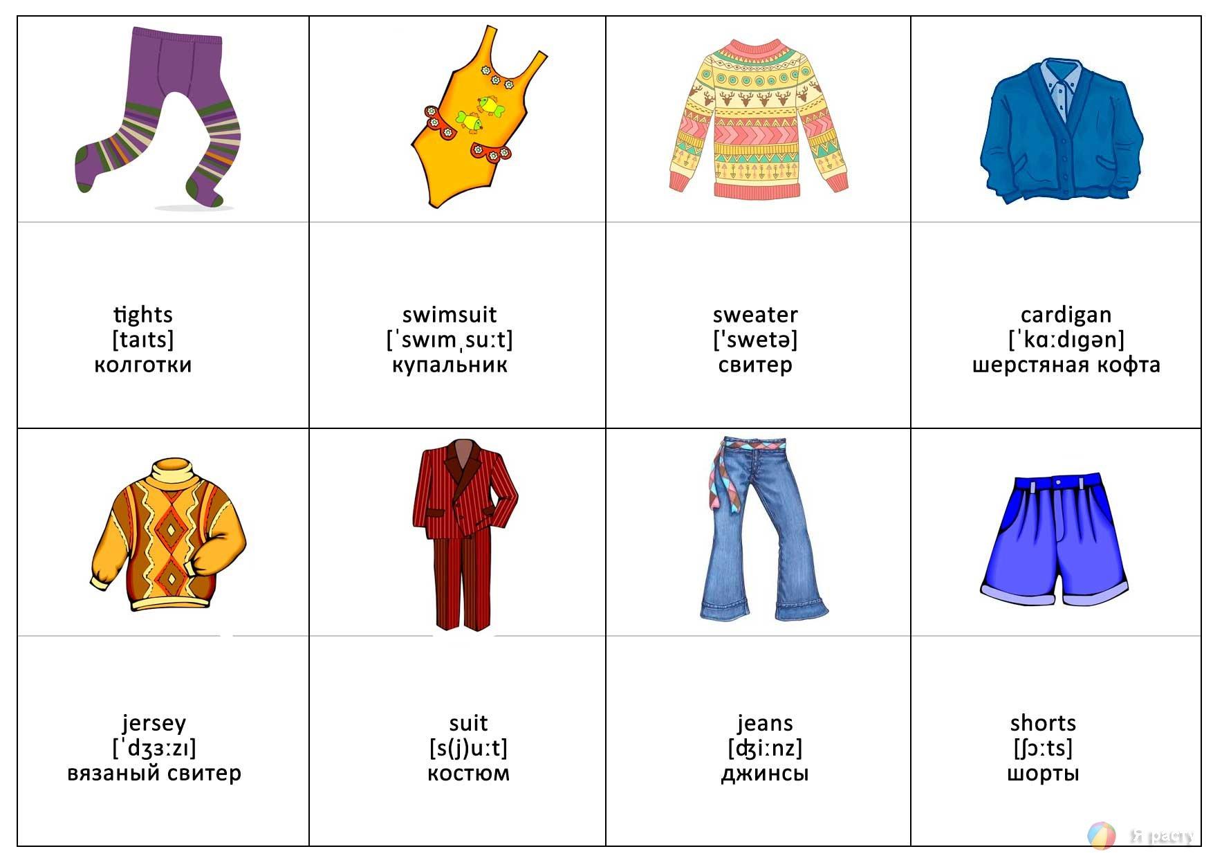 Тема одежда на английском языке для детей с картинками, школу