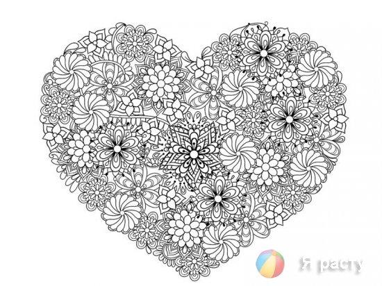 Раскраски валентинки