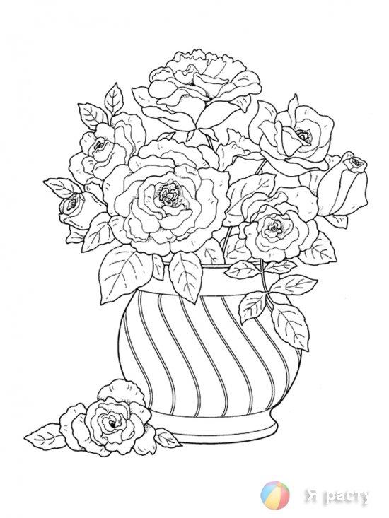 цветы в вазах. раскраски