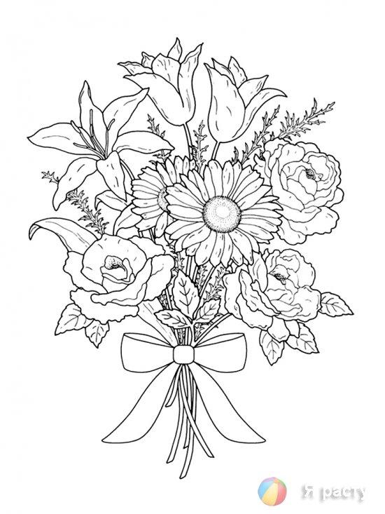 Цветы в букетах. Раскраски