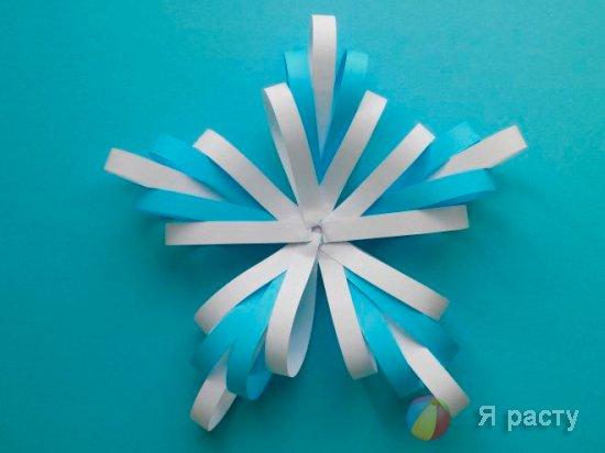 Объемная снежинка для украшения дома своими руками